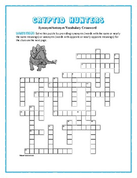 Cryptid Hunters: Synonyn/Antonym Vocabulary Xword—Use with Bookmarks Plus!