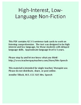 Cryptids Non-Fiction, Low-Language Task Cards