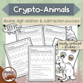 Crypto-Animals Double Digit Addition and Subtraction Puzzles