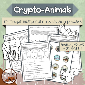 Crypto-Animals Multi Digit Multiplication and Division Puzzles