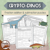 Crypto-Dinos Fraction Addition and Subtraction Puzzles
