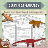 Crypto-Dinos Fraction Multiplication and Division Puzzles