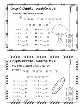 Crypto-Riddles - Addition - Math Facts Practice With Fun Riddles