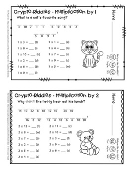 Crypto-Riddles - Multiplication - Math Facts Practice With Fun Riddles