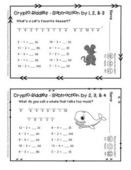 Crypto-Riddles - Subtraction - Math Facts Practice With Fun Riddles