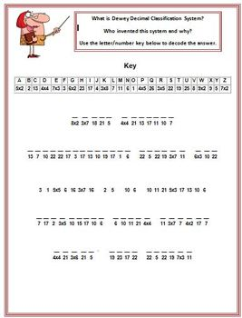 Cryptogram Puzzle: Dewey Decimal Classification System | Library ...