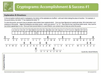 Cryptogram Puzzles:  Accomplishment and Success