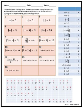 Cryptogram: Solving Absolute Value Equations