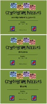 Cryptograms 3-Pack (24 Puzzles): Accomplishment and Success, Motivation, Wisdom