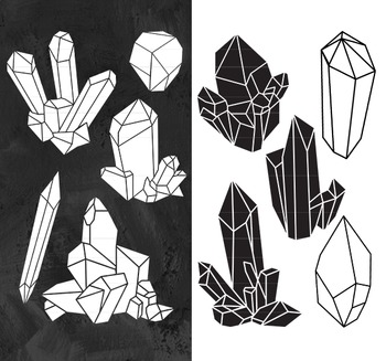 Crystal Clipart, Raw Crystal Clip Art, Crystal Clip Art, Crystal Silhouettes