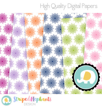 Crystal Flowers Digital Papers