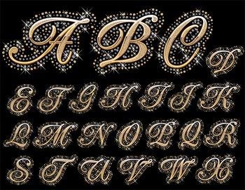 Crystal Sparkle Rhinestone Bling Alphabet Clip Art Gold Sparkle Digital Alphabet