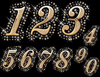 Crystal Sparkle Rhinestone Bling Number Clip Art Gold Spar