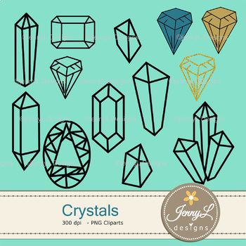 Crystals Gems Digital papers and Gemstones clipart