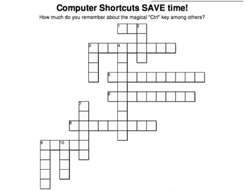 Ctrl Key Shortcuts Crossword