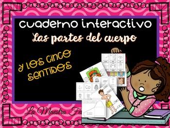 Cuaderno Interactivo Partes del Cuerpo y 5 Sentidos.Spanish Interactive N.book