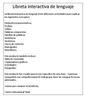 Cuaderno-Libreta Interactiva de Lenguaje: Sinonimos-Prefijos-Homofonos y mas