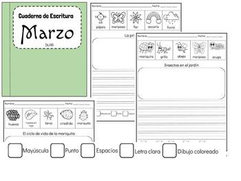 Cuaderno de Escritura - Marzo - Kindergarten