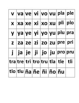 Cuadros de silabas para cuadritos magneticos