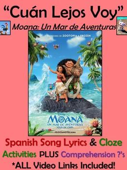 Cuan Lejos Voy Spanish Song Lyrics & Activities from Moana