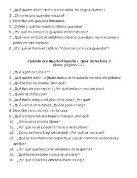 Cuando era puertorriqueña questions guide
