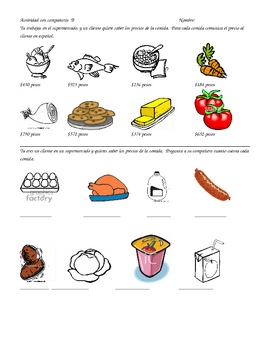 Cuanto Cuesta?  Partner practice with Food and Big Numbers