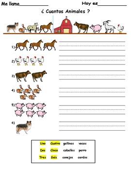 ¿Cuántos Animales? worksheet