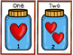 Numbers 0-20. How many Hearts? Cuenta corazones.White background