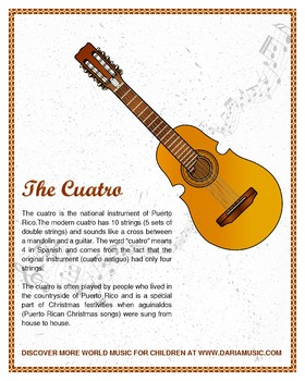 Cuatro Musical Instrument Poster And Coloring Page