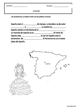 Países hispanos: reading and coloring pages