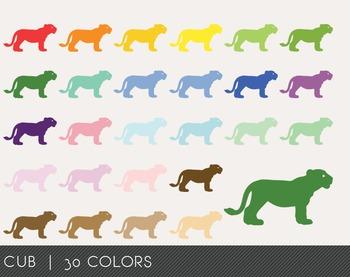 Cub Digital Clipart, Cub Graphics, Cub PNG, Rainbow Cub Digital Files