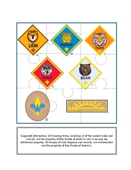 Cub Scout Rank Puzzles- 2 levels of challenge