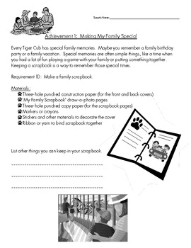 Cub Scout - Tiger Den - Achievement 1D: Make a Family Scrapbook