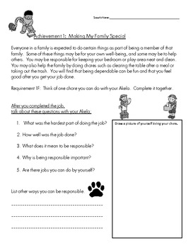 Cub Scout - Tiger Den - Achievement 1F: Chore and Responsibility Worksheet