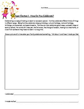 Cub Scout - Tiger Den - Elective 1 - How Do You Celebrate Worksheet