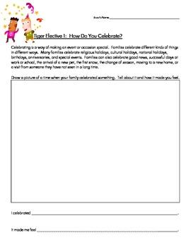 Cub Scout - Tiger Den - Elective 1 - How Do You Celebrate