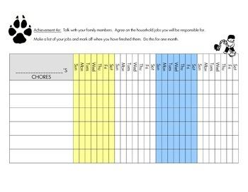Cub Scout - Wolf Den - Achievement 4e: Chore Chart