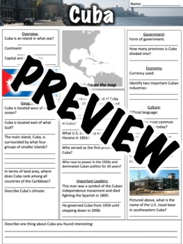 cuba worksheet by middle school history and geography tpt. Black Bedroom Furniture Sets. Home Design Ideas