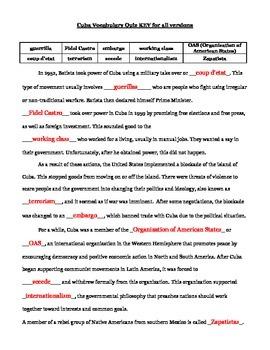 Cuban History Vocabulary Quiz