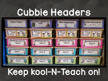 Cubbie/ Tote tray Headers Bilingual (English and Spanish)