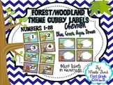 Cubby Labels 1-28 Woodland Chevron Theme (Brown, Blue, Aqua, Green)