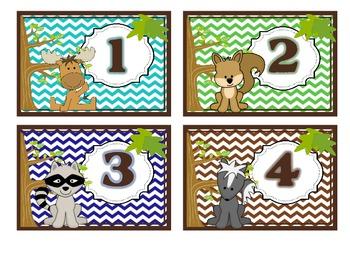 Cubby Labels 1-28 Woodland Chevron Theme (Brown, Blue, Aqua, Green)