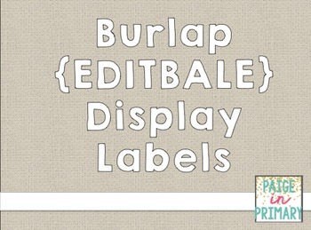 BURLAP {EDITABLE} Display Tags!