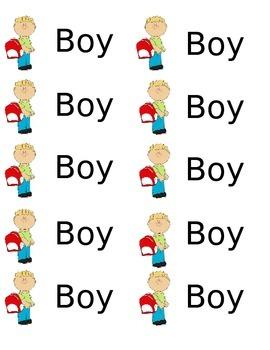 Cubby Name Tags for Boys