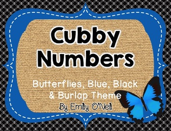 Cubby Numbers (Butterfly, Blue, Black & Burlap Theme)