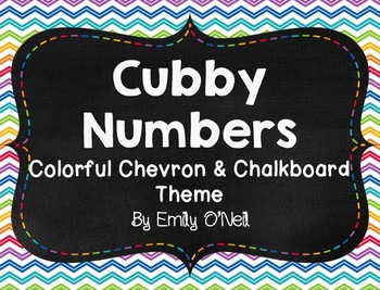 Cubby Numbers (Colorful Chevron & Chalkboard Theme)