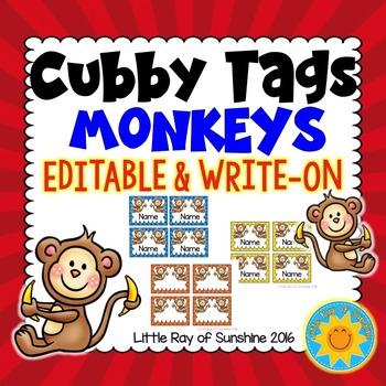 Cubby Tags-Monkeys: EDITABLE & WRITE-ON