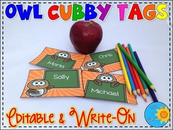 Cubby Tags-Owls (EDITABLE & WRITE-ON)