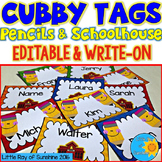 Cubby Tags Pencils & Schoolhouse (EDITABLE & WRITE-ON)