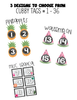 Cubby Tags - Tropical Theme (Pineapple, Watermelon, Flamingo, Palm Tree, etc..)